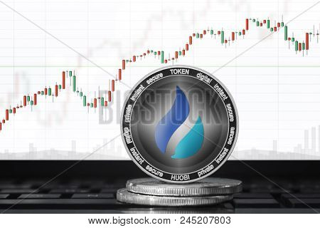 Huobi Token (ht) Cryptocurrency; Huobi Coin On The Background Of The Chart