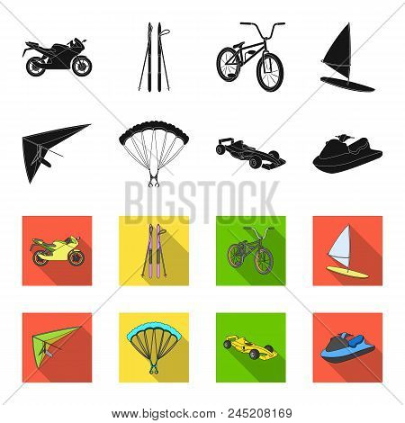 Hang Glider, Parachute, Racing Car, Water Scooter.extreme Sport Set Collection Icons In Black, Flet
