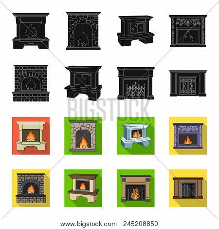 Fire, Warmth And Comfort.fireplace Set Collection Icons In Black, Flet Style Vector Symbol Stock Ill