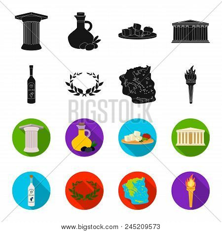Greece, Country, Tradition, Landmark .greece Set Collection Icons In Black, Flet Style Vector Symbol