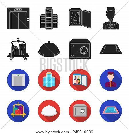 Trolley With Luggage, Safe, Swimming Pool, Clutch.hotel Set Collection Icons In Black, Flet Style Ve