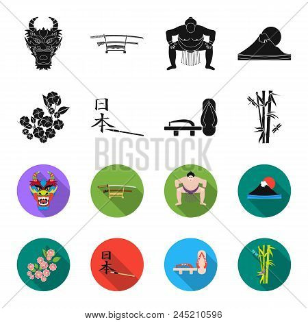 Geta, Sakura Flowers, Bamboo, Hieroglyph.japan Set Collection Icons In Black, Flet Style Vector Symb