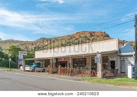 Lady Grey, South Africa - March 29, 2018:a Street Scene With The Blue Pepper Restaurant And A Superm