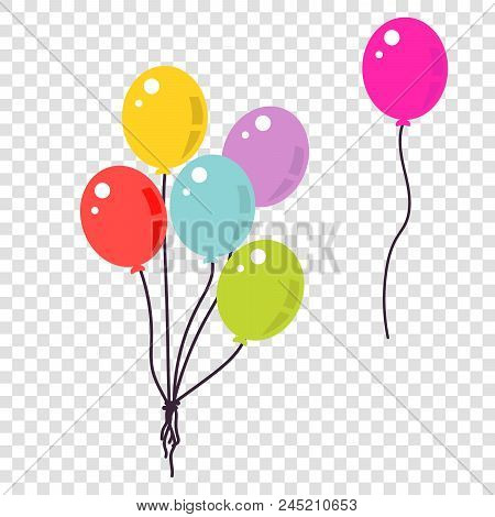 Colorful Balloons Flat Style Illustration. Bunch Of Balloons Isolated Vector.