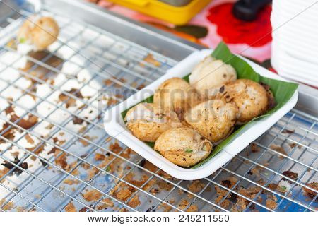 Sweet And Savory Grilled Coconut-rice Hotcakes Use Name 'kanom Krok' , Sometimes Use Coconut Rice Ca