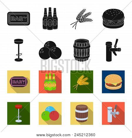 Restaurant, Cafe, Chair, Bowling Ball .pub Set Collection Icons In Black, Flet Style Vector Symbol S