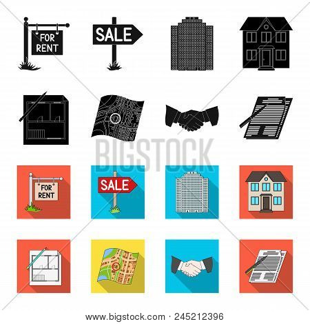 House Plan, Documents For Signing, Handshake, Terrain Plan. Realtor Set Collection Icons In Black, F