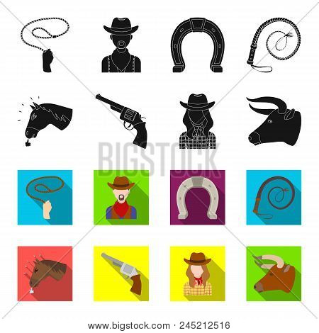 Head Of A Horse, A Bull's Head, A Revolver, A Cowboy Girl. Rodeo Set Collection Icons In Black,flet
