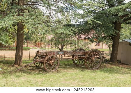 Lady Grey, South Africa - March 29, 2018: An Historic Ox-wagon At The Dutch Reformed Church In Lady
