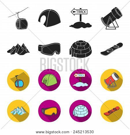 Mountains, Goggles, An Igloo, A Snowboard. Ski Resort Set Collection Icons In Black, Flet Style Vect