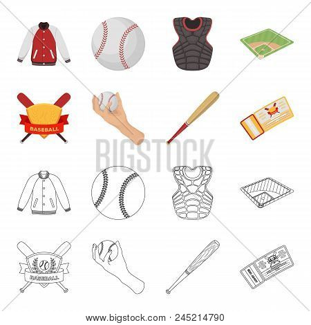 Club Emblem, Bat, Ball In Hand, Ticket To Match. Baseball Set Collection Icons In Cartoon, Outline S