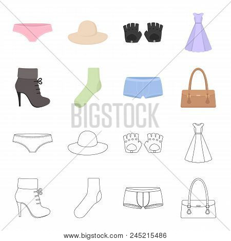 Women's Boots, Socks, Shorts, Ladies' Bag. Clothing Set Collection Icons In Cartoon,outline Style Ve