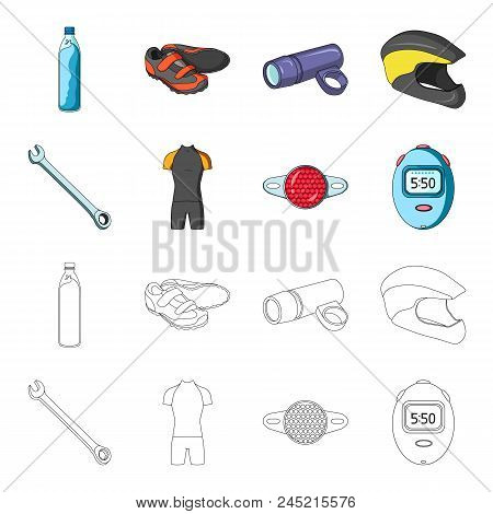 A Wrench, A Bicyclist's Bone, A Reflector, A Timer.cyclist Outfit Set Collection Icons In Cartoon,ou
