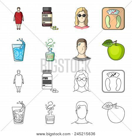 A Glass Of Water, A Bottle Of Alcohol, A Sweating Man, An Apple. Diabeth Set Collection Icons In Car