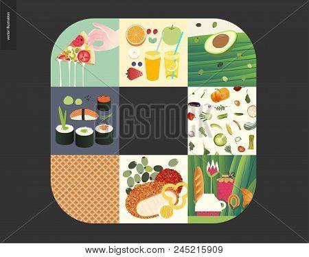 Simple Things - Meal - Flat Cartoon Vector Illustration Of Vegetarian Pizza, Sushi, Rolls, Breakfast
