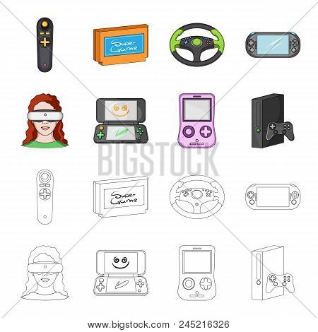 Game Console And Virtual Reality Cartoon, Outline Icons In Set Collection For Design.game Gadgets Ve