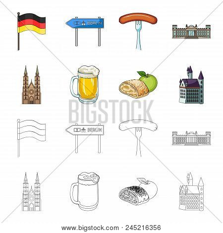 Country Germany Cartoon, Outline Icons In Set Collection For Design. Germany And Landmark Vector Sym