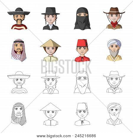 Arab, Turks, Vietnamese, Middle Asia Man. Human Race Set Collection Icons In Cartoon, Outline Style