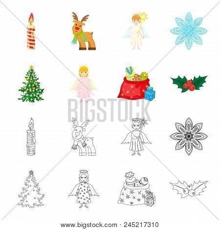Christmas Tree, Angel, Gifts And Holly Cartoon, Outline Icons In Set Collection For Design. Christma