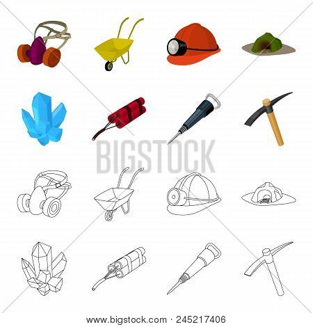 Minerals, Explosives, Jackhammer, Pickaxe.mining Industry Set Collection Icons In Cartoon, Outline S