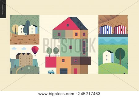Simple Things - Houses - Flat Cartoon Vector Illustration Of Colourful Countryside House, Isolated B