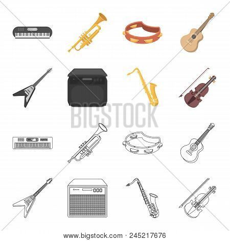 Electric Guitar, Loudspeaker, Saxophone, Violin.music Instruments Set Collection Icons In Cartoon, O