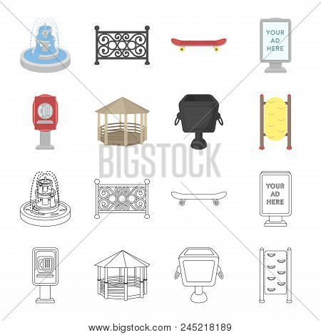 Telephone Automatic, Gazebo, Garbage Can, Wall For Children. Park Set Collection Icons In Cartoon, O