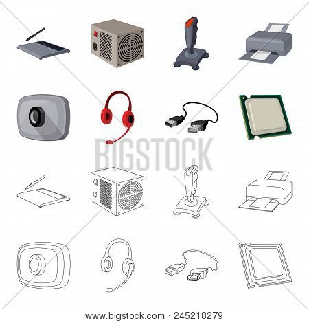 Webcam, Headphones, Usb Cable, Processor. Personal Computer Set Collection Icons In Cartoon, Outline