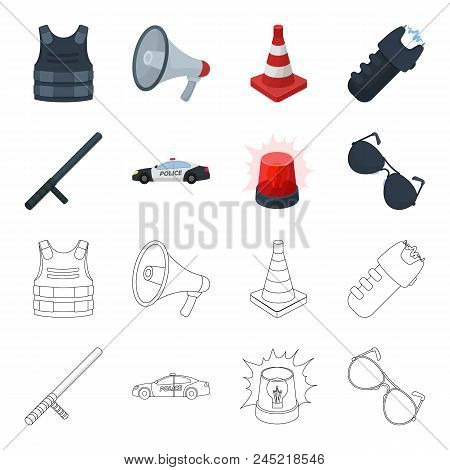 Police Baton, Auto, Flasher, Glasses.police Set Collection Icons In Cartoon, Outline Style Vector Sy