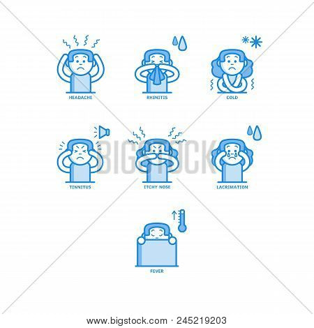 Woman Having Rhinitis Line Icons Set Isolated On White Background - Various Symptoms Of Disease With