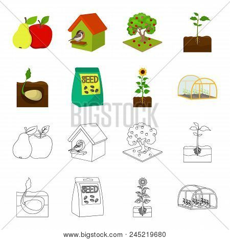 Company, Ecology, And Other  Icon In Cartoon, Outline Style. Husks, Fines, Garden Icons In Set Colle