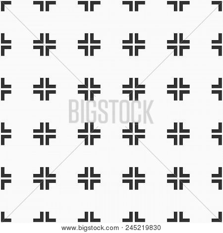 Abstract Seamless Pattern Of Crosses. Modern Stylish Texture. Repeating Geometric Tiles. Bold Rectan