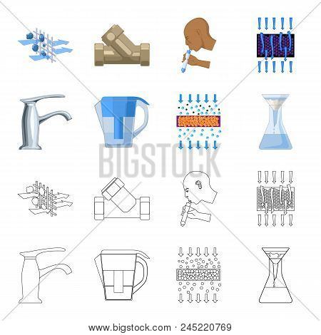 Man, Bald, Head, Hand .water Filtration System Set Collection Icons In Cartoon, Outline Style Vector