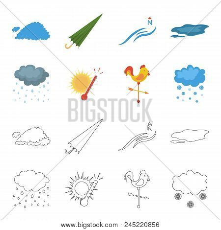 Rain, Snow, Heat, Weathervane. The Weather Set Collection Icons In Cartoon, Outline Style Vector Sym