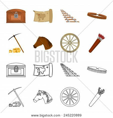 Pickax Hoe, Horse Head, Wheel Cart, Quiver With Arrows.wild West Set Collection Icons In Cartoon, Ou