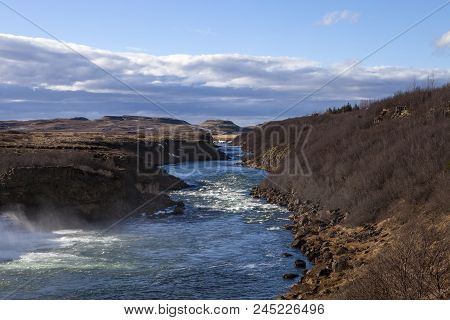 The Scenic Landscape Surrounding The River In Iceland