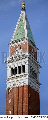 Venice Italy Bell Tower Called Campanile Di San Marco In Italian Language Symbol Of The Island