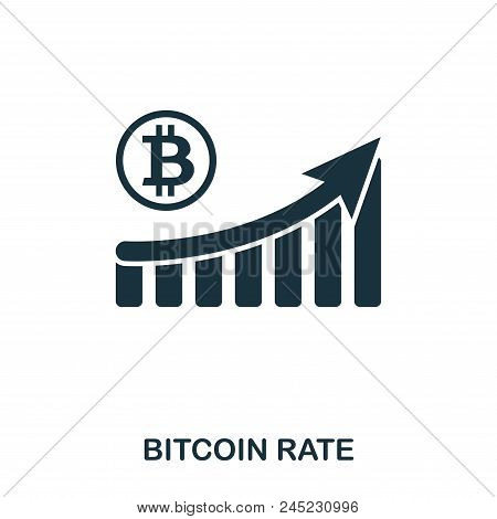 Bitcoin Rate Increase Graphic Icon. Mobile Apps, Printing And More Usage. Simple Element Sing. Monoc
