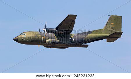Wunstorf, Germany - June 9, 2018: German Air Force (luftwaffe) Transall C-160 Military Transport Pla