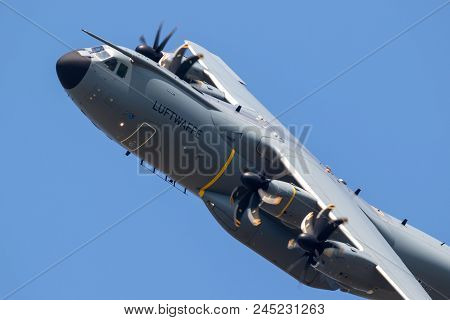 Wunstorf, Germany - June 9, 2018: German Air Force (luftwaffe) Airbus A400m Military Transport Plane