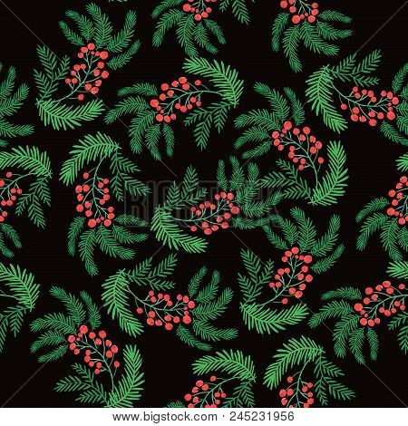 Christmas Seamless Pattern With  Christmas Wreath , Pine And Berries. Unique  Christmas Design.perfe