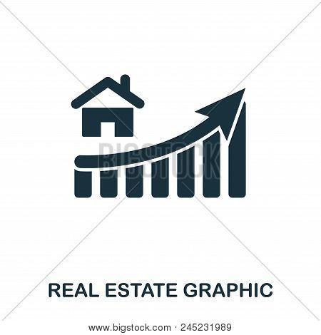 Real Estate Increase Graphic Icon. Mobile Apps, Printing And More Usage. Simple Element Sing. Monoch
