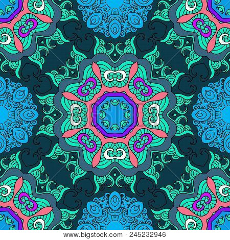 Vector Oriental Seamless Pattern Mandala Print.vintage Unique Decorative Elements. Hand Drawn  Multi