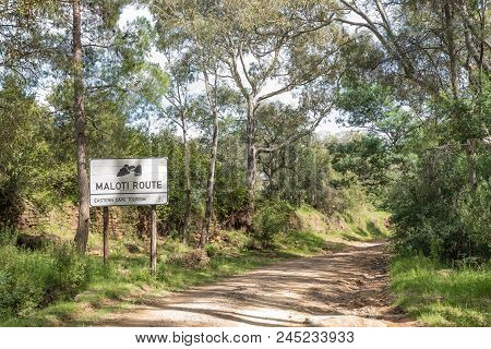Lady Grey, South Africa - March 29, 2018: A Name Board For The Maloti Scenic Route At The Bottom Of