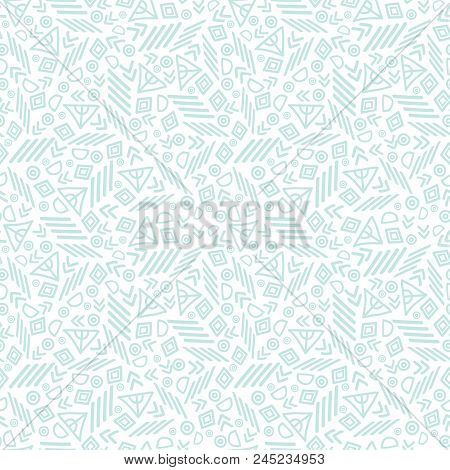 Blue Tribal Abstract Seamless Repeat Pattern Texture. Great For Folk Modern Wallpaper, Backgrounds,