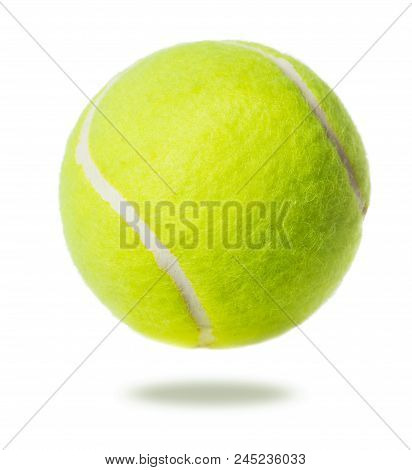 Close-up Of Single Tennis Ball Isolated On White Background