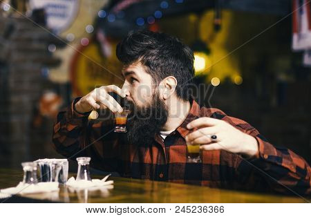 Get Drunk Concept. Hipster Holds Glass With Alcoholic Drink, Short Cocktail. Guy Spend Leisure In Ba