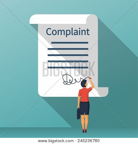 Complaint Concept. Woman Wrote A Complaint. Vector Illustration Flat Design. Measures To Solve Probl