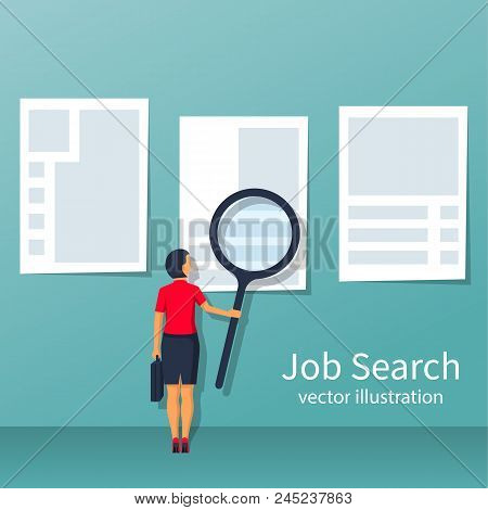 Businesswoman With Large Magnifying Glass Looking For Work. Job Search, View Ads On The Wall. Vector
