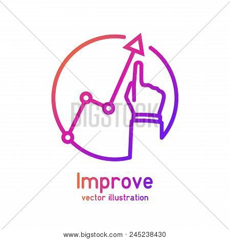 Improve Business Concept. Changing Direction. Growth Graph Trade. Vector Illustration Flat Minimal D